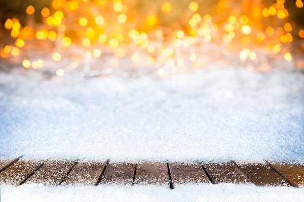 puste sniezne drewniane deski swiateczne bokeh