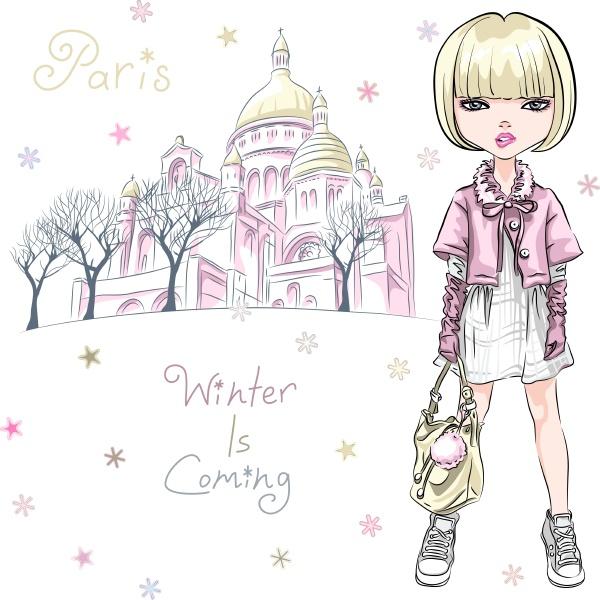 vector fashion girl w zimowych ubraniach