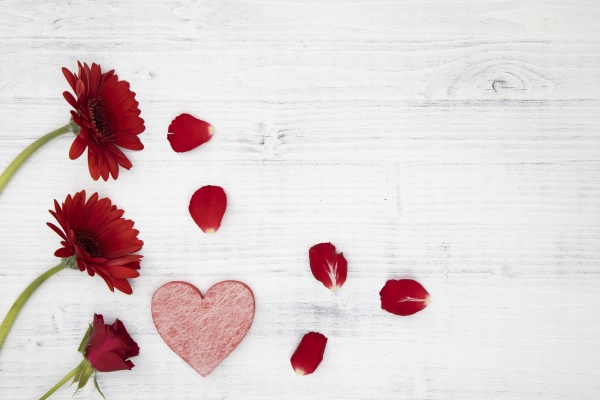 czerwone kwiaty z czerwonym sercem na