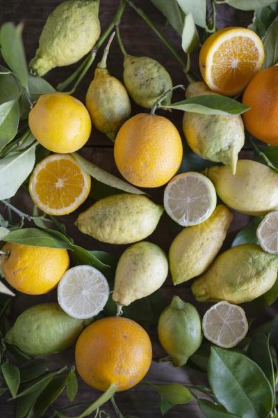 różne, organiczne, owoce, cytrusowe, z, liśćmi - 29886430