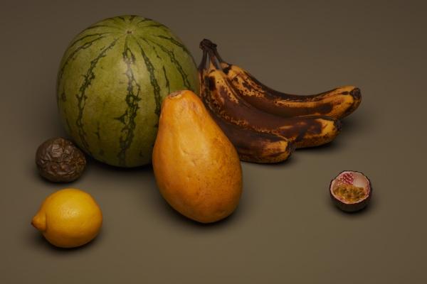 martwa natura owocowa z brazowymi bananami
