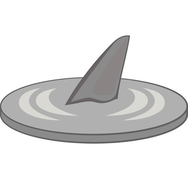ikona, płetwy, rekina, szary, monochromatyczny, styl - 30114759