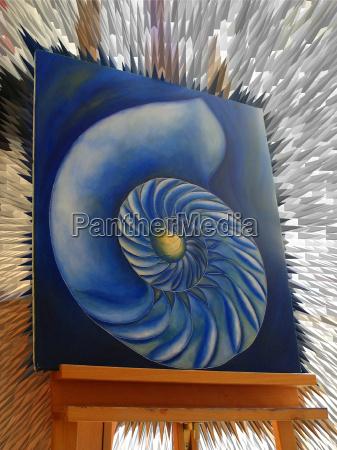 niebieski obraz hobby malarstwo slimak malowanie