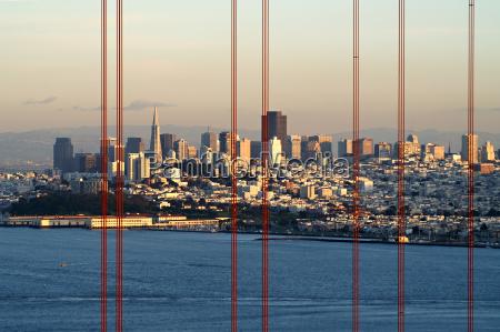 pomost usa wieczor kalifornia skyline pomysl