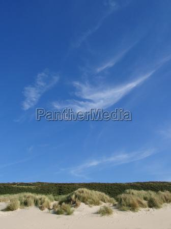 błękitne, niebo, nad, wydmami, krajobrazu - 1867451