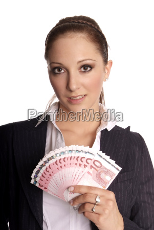 young woman holding banknotes