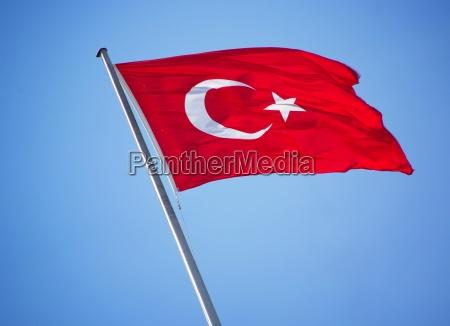 flaga turcja bandera stan firmament niebo