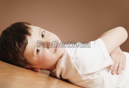 young boy relaxing