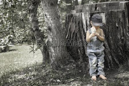 little boy with ice cream cone