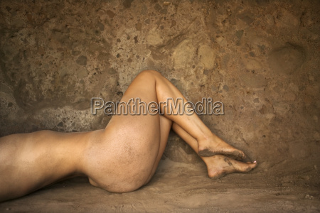 nude woman in cave