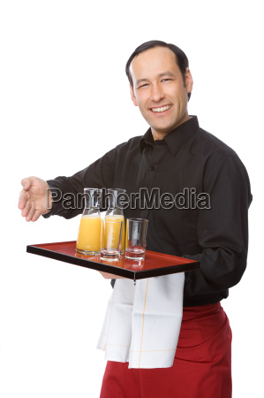 kelner serwowane sok pomaranczowy