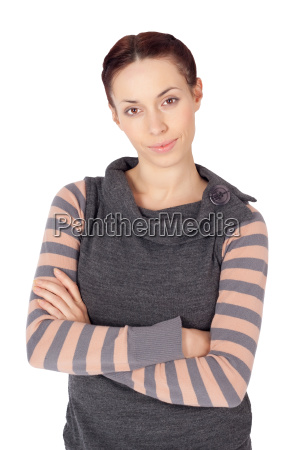 beautiful cheerful woman with arms crossed