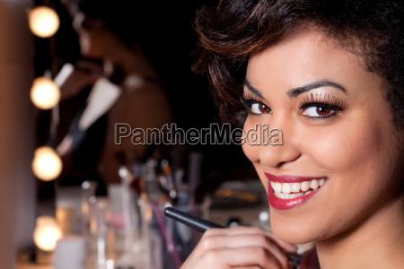 young woman makeup session portrait