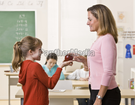 student giving teacher apple