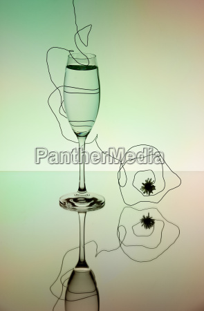 reflection szampan kieliszekszampana szmpan szklisty lusterko