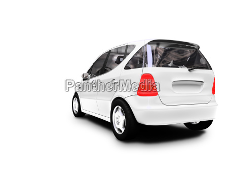 mini bialy samochod widok z tylu
