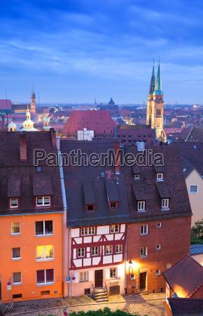 nuremberg skyline at the blue hour