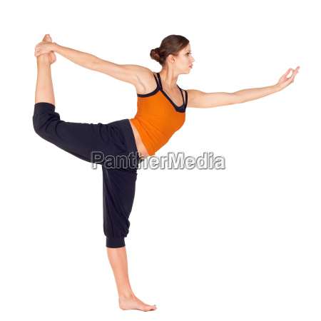 woman practicing dancer pose yoga exercise