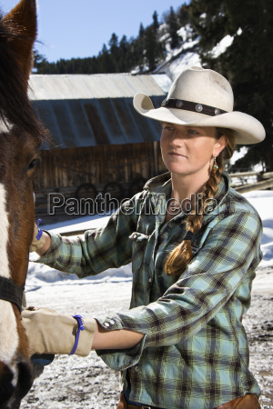 attractive young woman petting horse