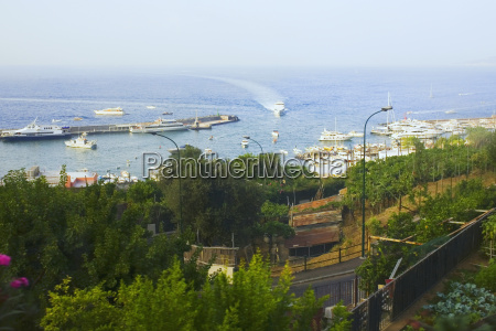 high angle view of boats in