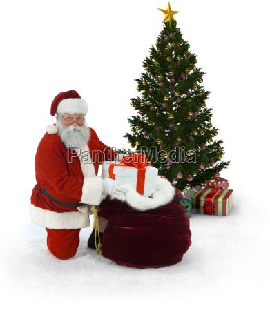 santa and christmas tree