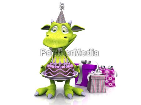 cute cartoon potwor gospodarstwa tort urodzinowy