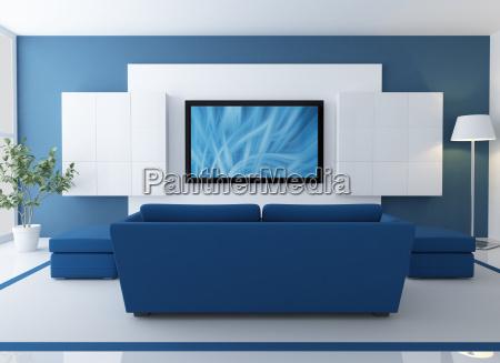 niebieski i bialy salon