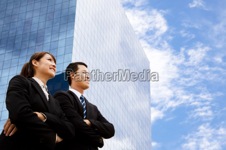 business man and woman looking