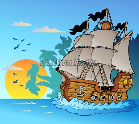 stare statku z wyspy silhouette