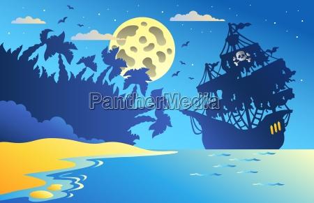 nocny pejzaz z piratem statku 2