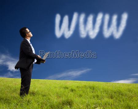 internet cloud computing concept businessman using