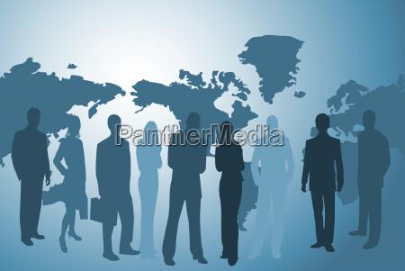 biznesmeni i mapa swiata