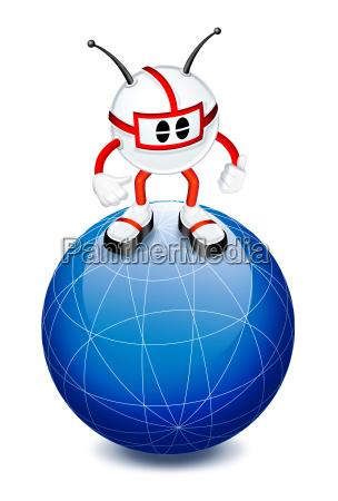 3d man on top of globe