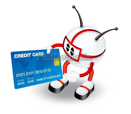 3d character with credit card
