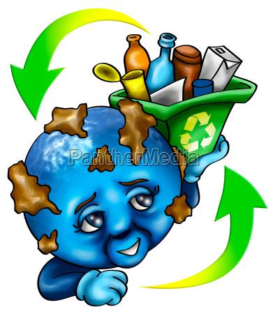 ilustracja ekologia globus planeta ziemia swiat