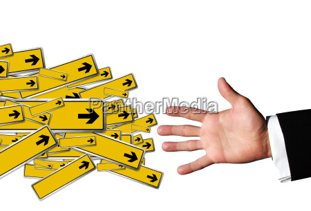 hand and arrow signs