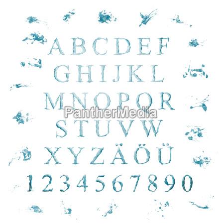 alfabet z liter wody