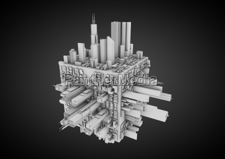 abstract cube city