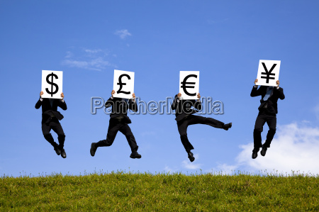 businessman jumping and holding 4