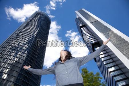 woman adoring skyscrapers