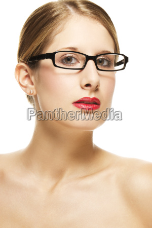 portrait, einer, jungen, frau, mit, brille - 5850121