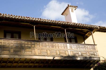 typical wooden balcony in tenerife