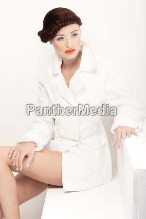 beautiful retro model in white