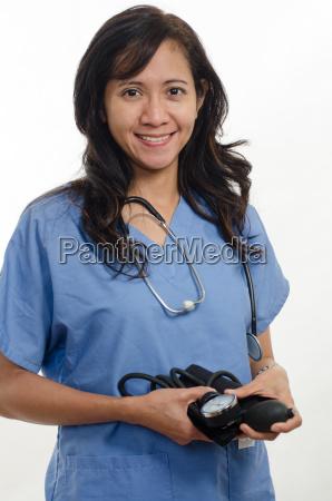 atrakcyjna azjatycka filipinska pielegniarka lekarz pracownik