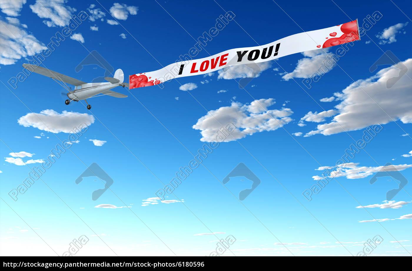 samolot, reklama, -, i, love, u - 6180596