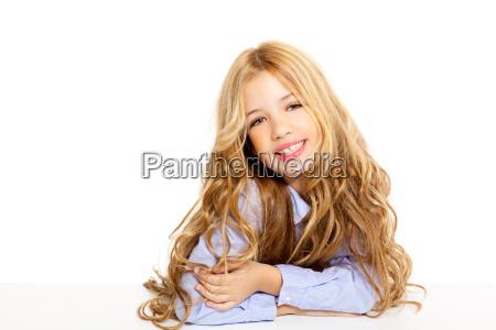 blond kid little girl portrait smiling