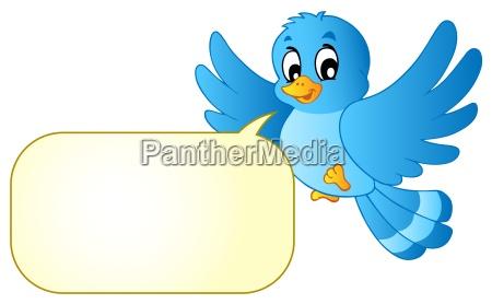niebieski ptak z komiksow banka
