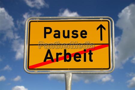 niemiecki miejsce znak przerwa pracy