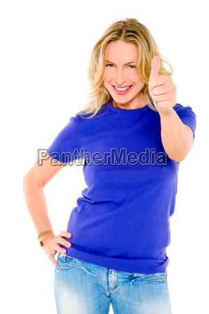 woman, with, thumb, up - 6417419