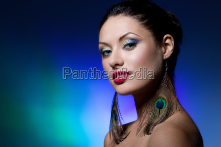 young brunette with creative makeup